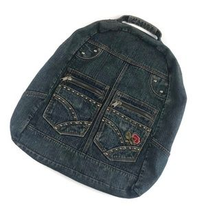 Vintage 90's Floral Denim Backpack Purse